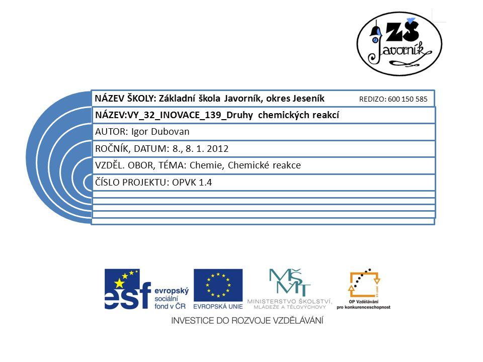 NÁZEV ŠKOLY: Základní škola Javorník, okres Jeseník REDIZO: 600 150 585 NÁZEV:VY_32_INOVACE_139_Druhy chemických reakcí AUTOR: Igor Dubovan ROČNÍK, DATUM: 8., 8.