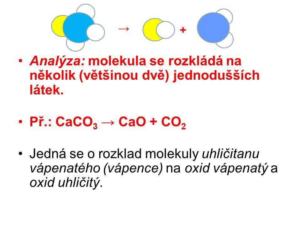 Analýza: molekula se rozkládá na několik (většinou dvě) jednodušších látek.