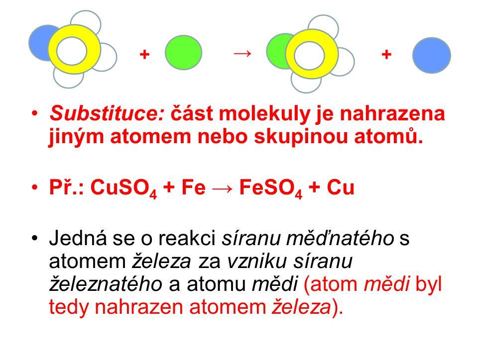Příklady k procvičení určete druh chemické reakce: 2H 2 + O 2 → 2H 2 O Mg + 2HNO 3 → Mg(NO 3 ) 2 + H 2 Mg + H 2 SO 4 → MgSO 4 + H 2 2HCl + Zn → ZnCl 2 + H 2 Ca(OH) 2 → CaO + H 2 O 2H 2 O 2 → 2H 2 O + O 2 syntéza substituce analýza