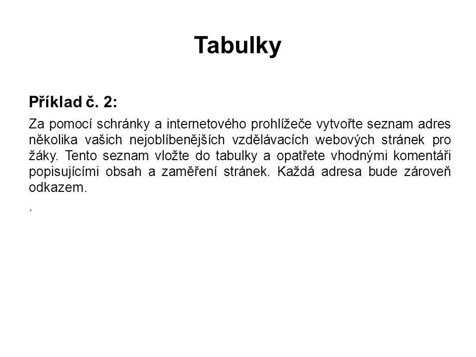 Tabulky Příklad č.