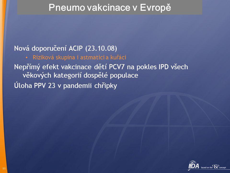 11 Pneumo vakcinace v Evropě Nová doporučení ACIP (23.10.08) Riziková skupina i astmatici a kuřáci Nepřímý efekt vakcinace dětí PCV7 na pokles IPD vše
