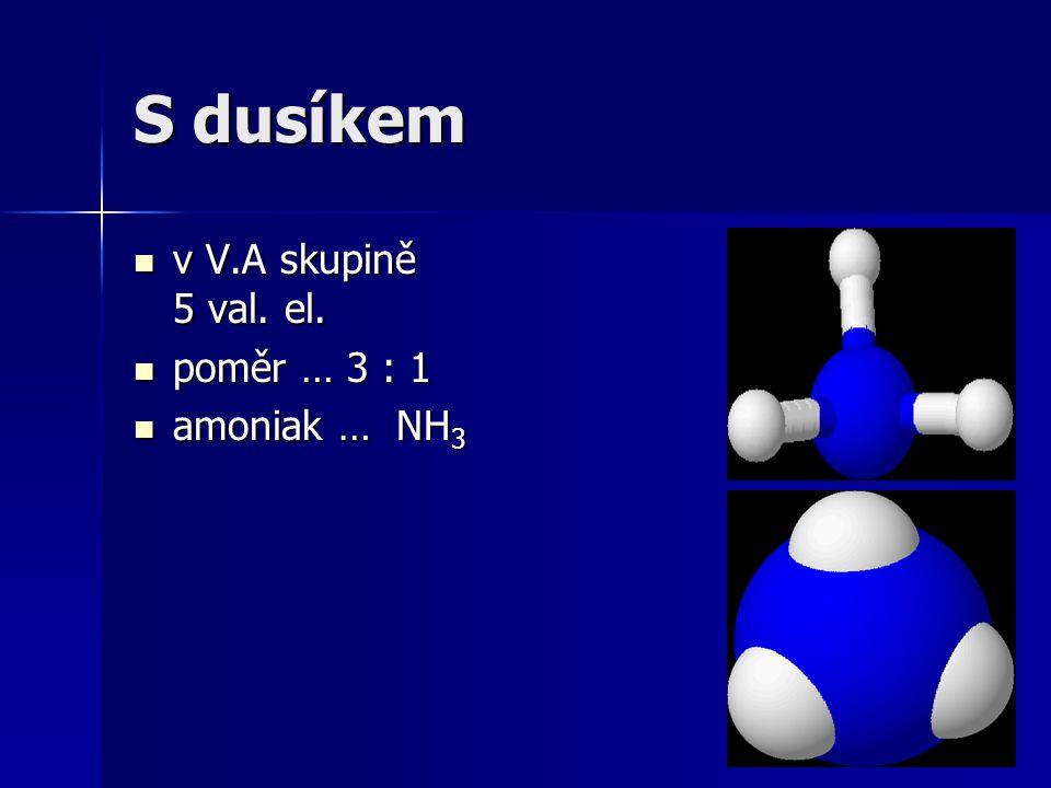 S dusíkem v V.A skupině 5 val. el. v V.A skupině 5 val. el. poměr … 3 : 1 poměr … 3 : 1 amoniak … NH 3 amoniak … NH 3