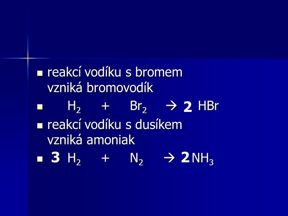 reakcí vodíku s bromem vzniká bromovodík reakcí vodíku s bromem vzniká bromovodík H 2 + Br 2  HBr H 2 + Br 2  HBr reakcí vodíku s dusíkem vzniká amo