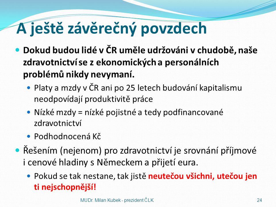 A ještě závěrečný povzdech Dokud budou lidé v ČR uměle udržováni v chudobě, naše zdravotnictví se z ekonomických a personálních problémů nikdy nevyman