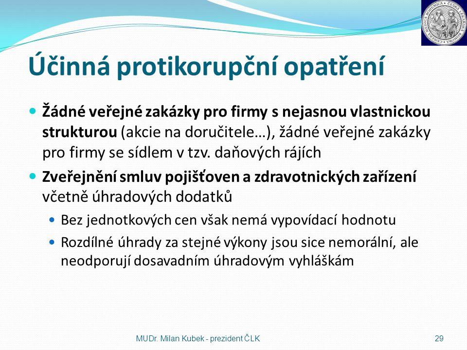 Účinná protikorupční opatření Žádné veřejné zakázky pro firmy s nejasnou vlastnickou strukturou (akcie na doručitele…), žádné veřejné zakázky pro firm