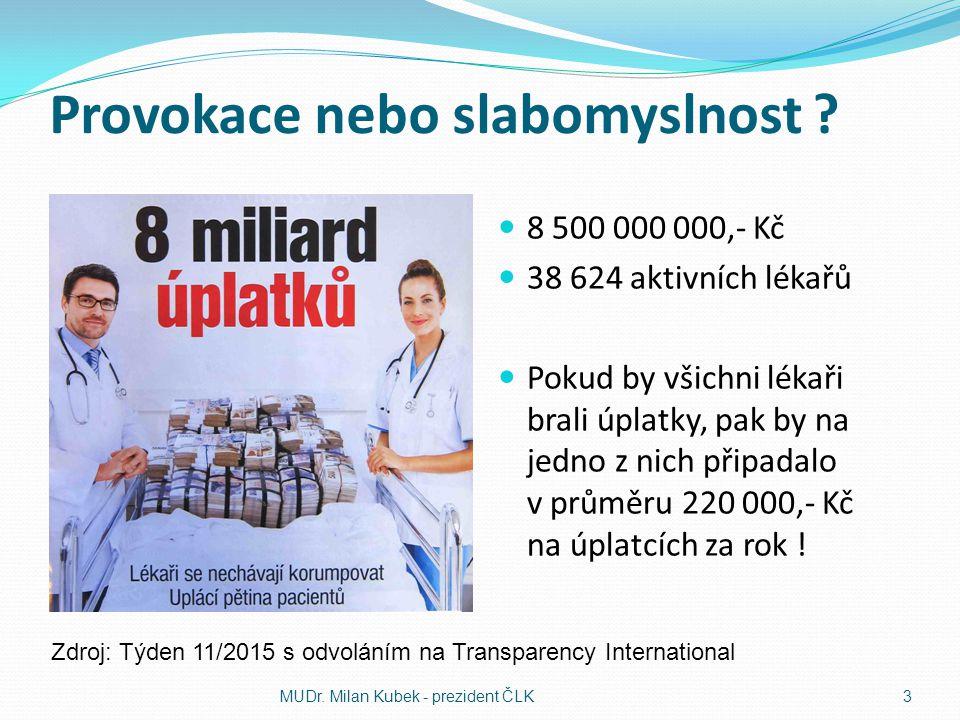 Skutečné problémy českého zdravotnictví Nedostatek peněz Nedostatek zdravotníků Nespravedlnost Rozdílné platby zdravotního pojištění Nerovné podnikatelské prostředí Různá dostupnost ZS Nekvalitní legislativa MUDr.