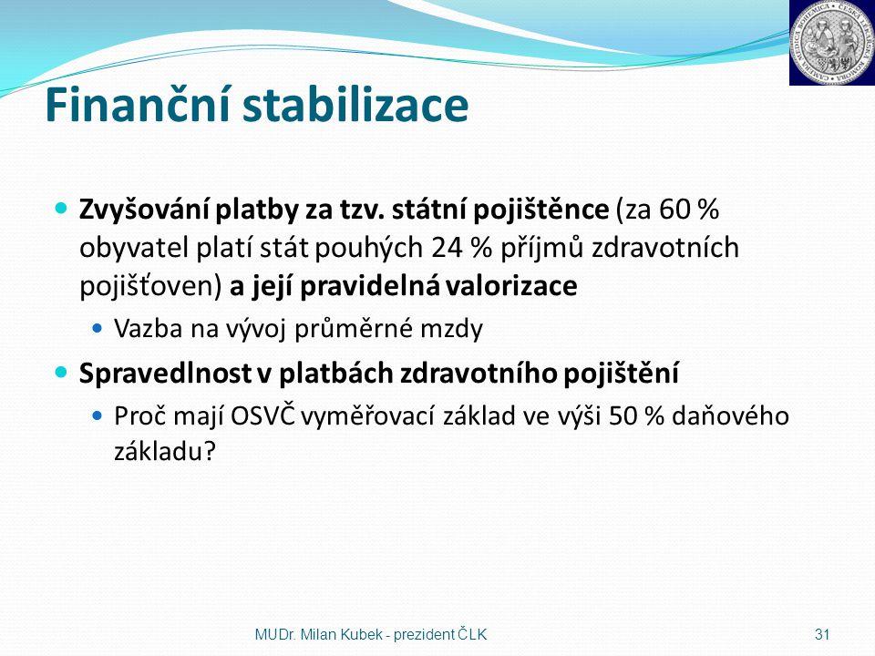 Finanční stabilizace Zvyšování platby za tzv. státní pojištěnce (za 60 % obyvatel platí stát pouhých 24 % příjmů zdravotních pojišťoven) a její pravid