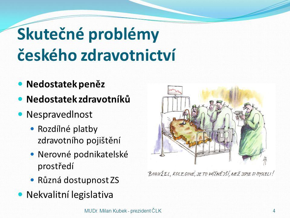 Skutečné problémy českého zdravotnictví Nedostatek peněz Nedostatek zdravotníků Nespravedlnost Rozdílné platby zdravotního pojištění Nerovné podnikate