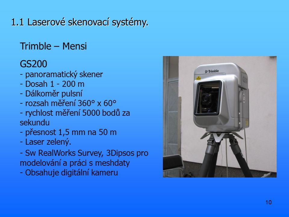 10 1.1 Laserové skenovací systémy. Trimble – Mensi GS200 - panoramatický skener - Dosah 1 - 200 m - Dálkoměr pulsní - rozsah měření 360° x 60° - rychl