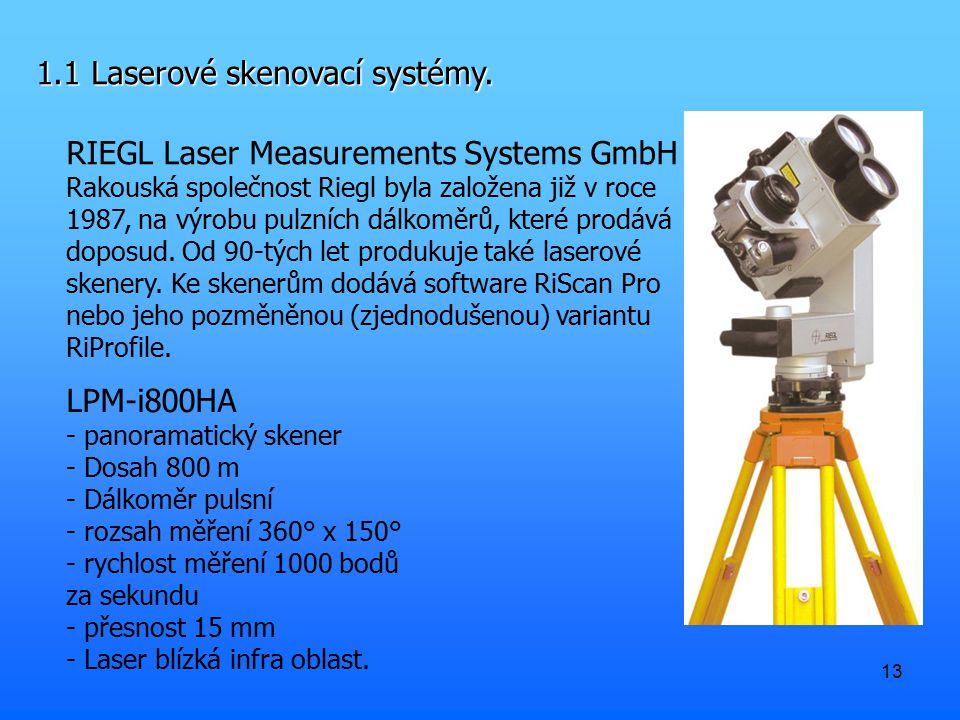 13 1.1 Laserové skenovací systémy. RIEGL Laser Measurements Systems GmbH Rakouská společnost Riegl byla založena již v roce 1987, na výrobu pulzních d