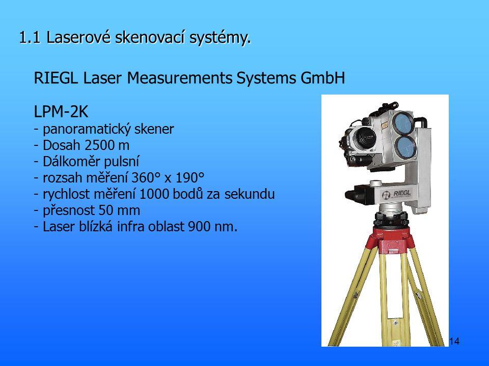 14 1.1 Laserové skenovací systémy. RIEGL Laser Measurements Systems GmbH LPM-2K - panoramatický skener - Dosah 2500 m - Dálkoměr pulsní - rozsah měřen