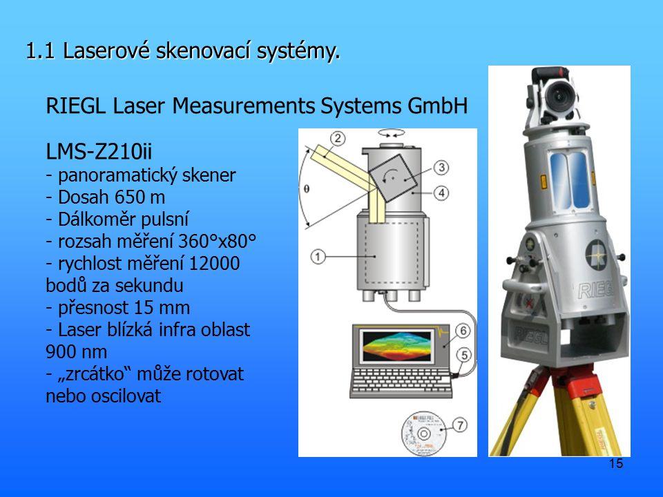 15 1.1 Laserové skenovací systémy. RIEGL Laser Measurements Systems GmbH LMS-Z210ii - panoramatický skener - Dosah 650 m - Dálkoměr pulsní - rozsah mě