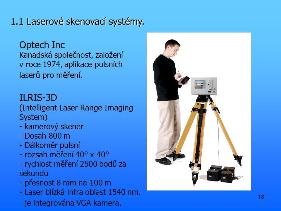 18 1.1 Laserové skenovací systémy. Optech Inc Kanadská společnost, založení v roce 1974, aplikace pulsních laserů pro měření. ILRIS-3D (Intelligent La