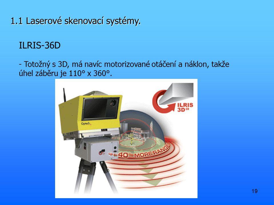 19 1.1 Laserové skenovací systémy. ILRIS-36D - Totožný s 3D, má navíc motorizované otáčení a náklon, takže úhel záběru je 110° x 360°.