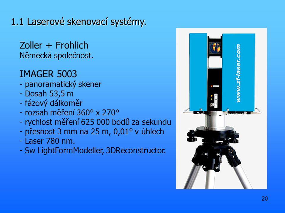 20 1.1 Laserové skenovací systémy. Zoller + Frohlich Německá společnost. IMAGER 5003 - panoramatický skener - Dosah 53,5 m - fázový dálkoměr - rozsah