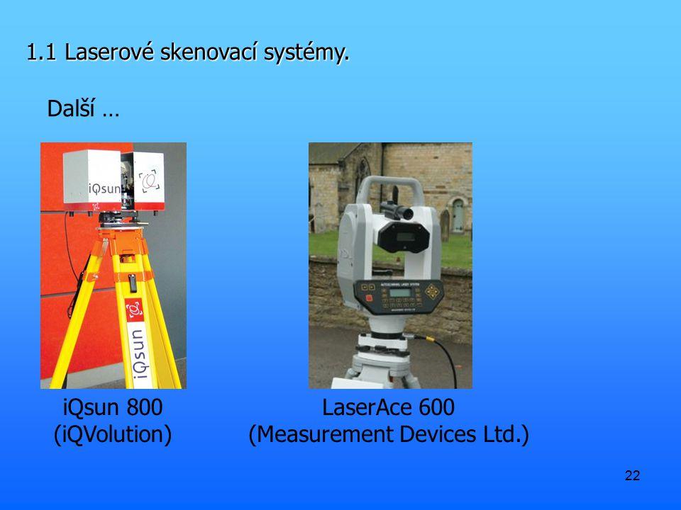 22 1.1 Laserové skenovací systémy. Další … iQsun 800 (iQVolution) LaserAce 600 (Measurement Devices Ltd.)
