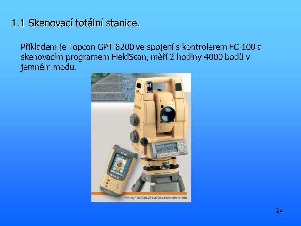 24 1.1 Skenovací totální stanice. Příkladem je Topcon GPT-8200 ve spojení s kontrolerem FC-100 a skenovacím programem FieldScan, měří 2 hodiny 4000 bo
