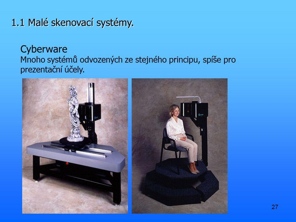 27 1.1 Malé skenovací systémy. Cyberware Mnoho systémů odvozených ze stejného principu, spíše pro prezentační účely.
