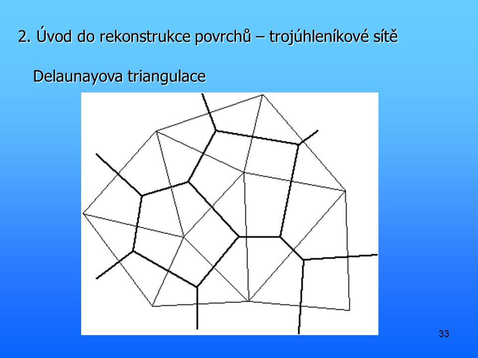 33 2. Úvod do rekonstrukce povrchů – trojúhleníkové sítě Delaunayova triangulace