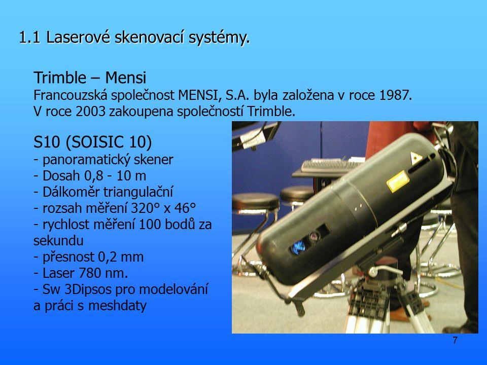 7 1.1 Laserové skenovací systémy. Trimble – Mensi Francouzská společnost MENSI, S.A. byla založena v roce 1987. V roce 2003 zakoupena společností Trim