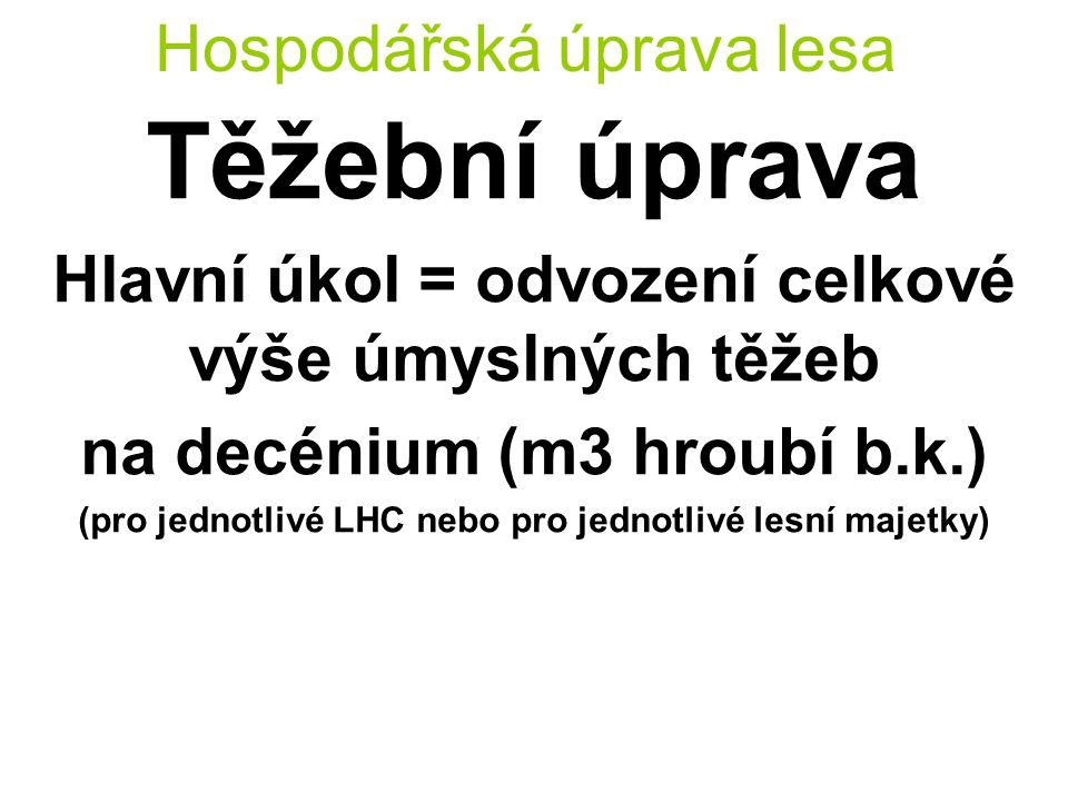Hospodářská úprava lesa Těžební úprava Hlavní úkol = odvození celkové výše úmyslných těžeb na decénium (m3 hroubí b.k.) (pro jednotlivé LHC nebo pro j