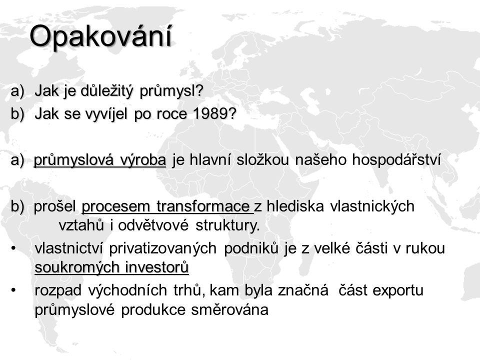 Opakování a)Jak je důležitý průmysl? b)Jak se vyvíjel po roce 1989? a) průmyslová výroba a) průmyslová výroba je hlavní složkou našeho hospodářství b)