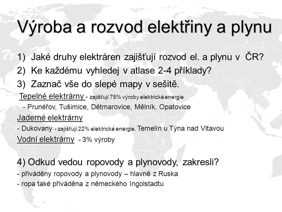 Výroba a rozvod elektřiny a plynu 1)Jaké druhy elektráren zajišťují rozvod el. a plynu v ČR? 2)Ke každému vyhledej v atlase 2-4 příklady? 3)Zaznač vše