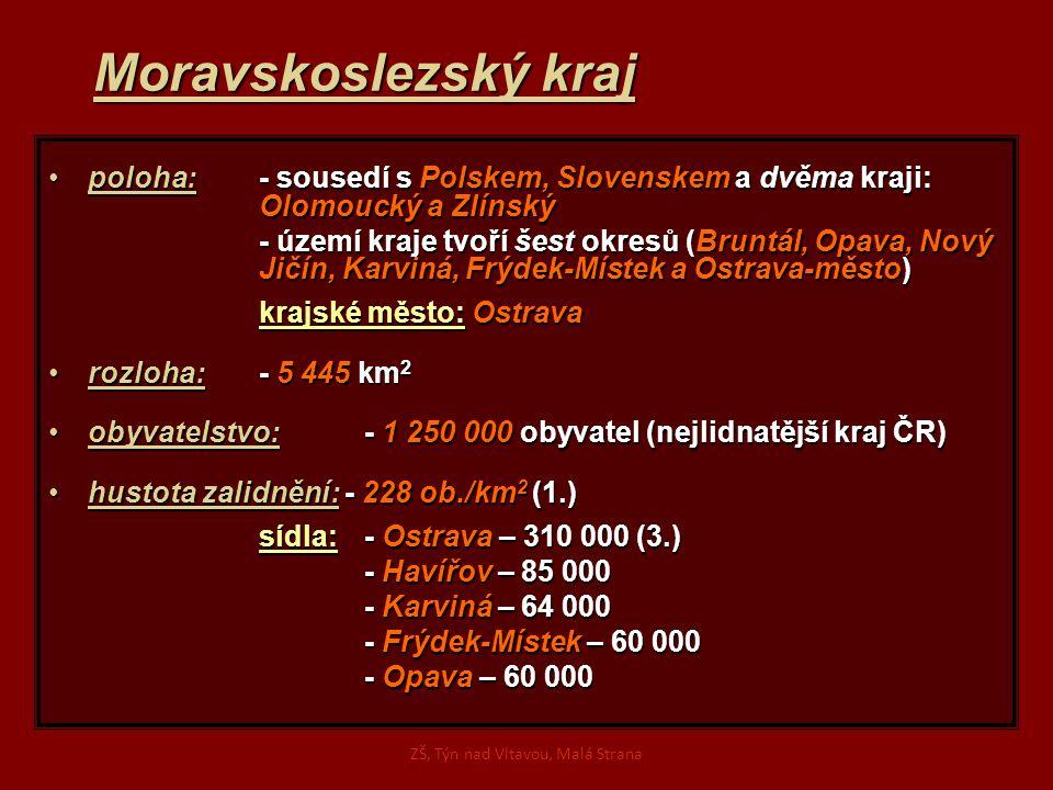 Moravskoslezský kraj poloha:- sousedí s Polskem, Slovenskem a dvěma kraji: Olomoucký a Zlínskýpoloha:- sousedí s Polskem, Slovenskem a dvěma kraji: Olomoucký a Zlínský - území kraje tvoří šest okresů (Bruntál, Opava, Nový Jičín, Karviná, Frýdek-Místek a Ostrava-město) krajské město: Ostrava rozloha: - 5 445km 2rozloha: - 5 445 km 2 obyvatelstvo:- 1 250 000 obyvatel (nejlidnatější kraj ČR)obyvatelstvo:- 1 250 000 obyvatel (nejlidnatější kraj ČR) hustota zalidnění: - 228 ob./km 2 (1.)hustota zalidnění: - 228 ob./km 2 (1.) sídla: - Ostrava – 310 000 (3.) - Havířov – 85 000 - Karviná – 64 000 - Frýdek-Místek – 60 000 - Opava – 60 000 ZŠ, Týn nad Vltavou, Malá Strana