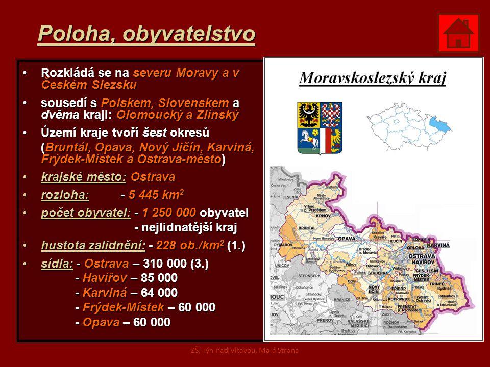 Poloha, obyvatelstvo Rozkládá se na severu Moravy a v Českém SlezskuRozkládá se na severu Moravy a v Českém Slezsku sousedí s Polskem, Slovenskem a dv