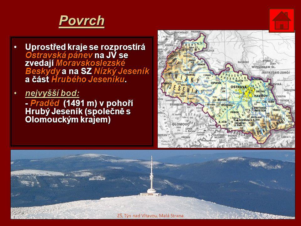 Povrch Uprostřed kraje se rozprostírá Ostravská pánev na JV se zvedají Moravskoslezské Beskydy a na SZ Nízký Jeseník a část Hrubého Jeseníku.Uprostřed
