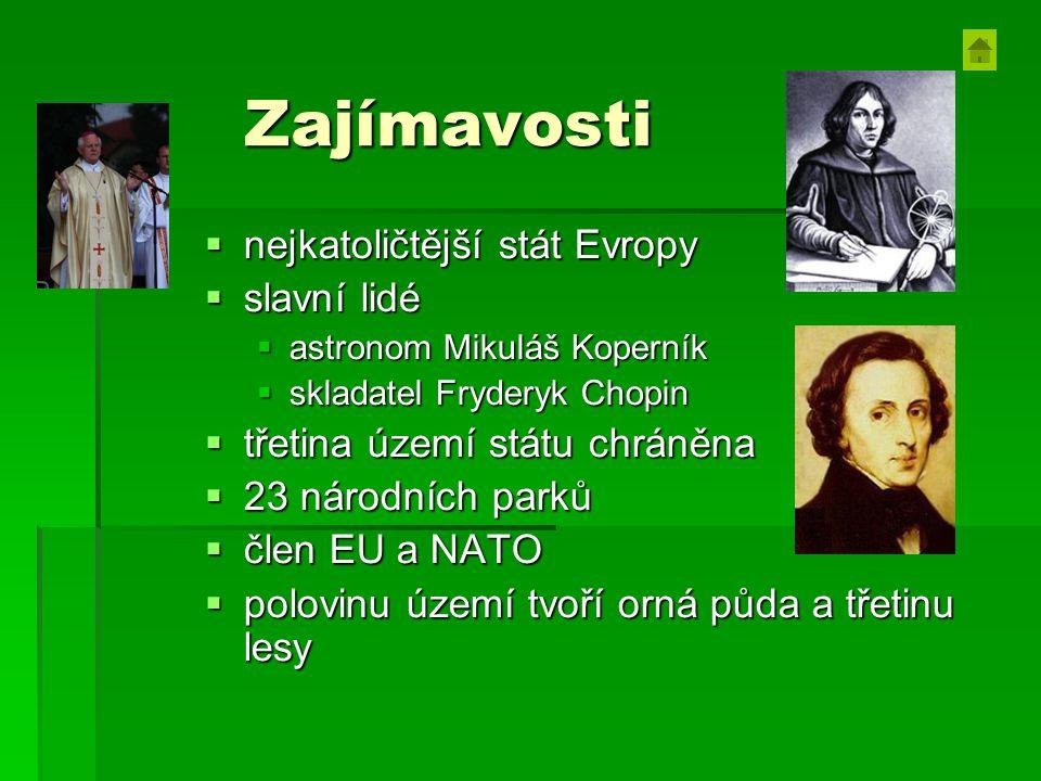 Zajímavosti  nejkatoličtější stát Evropy  slavní lidé  astronom Mikuláš Koperník  skladatel Fryderyk Chopin  třetina území státu chráněna  23 národních parků  člen EU a NATO  polovinu území tvoří orná půda a třetinu lesy