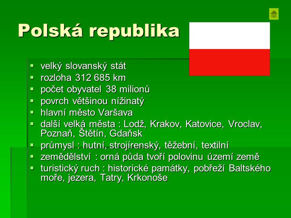 Polská republika  velký slovanský stát  rozloha 312 685 km  počet obyvatel 38 milionů  povrch většinou nížinatý  hlavní město Varšava  další vel