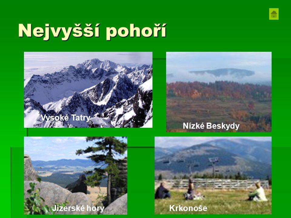 Nejvyšší pohoří Vysoké Tatry Jizerské hory Nízké Beskydy Krkonoše