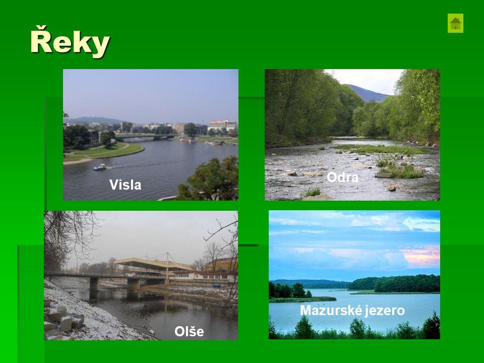 Řeky Mazurské jezero Olše Odra Visla