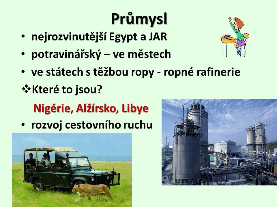 Průmysl nejrozvinutější Egypt a JAR potravinářský – ve městech ve státech s těžbou ropy - ropné rafinerie  Které to jsou? rozvoj cestovního ruchu Nig