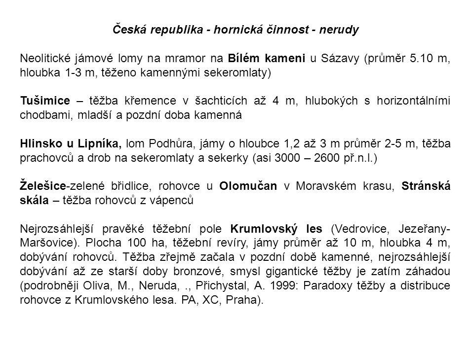 Česká republika - hornická činnost - nerudy Neolitické jámové lomy na mramor na Bílém kameni u Sázavy (průměr 5.10 m, hloubka 1-3 m, těženo kamennými
