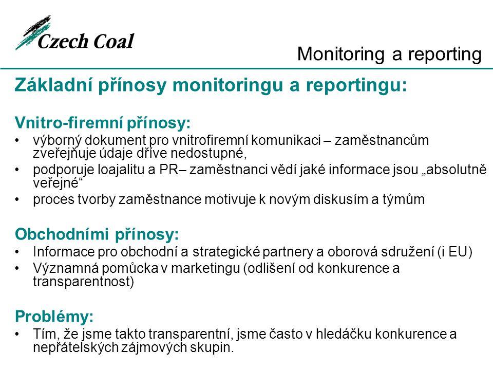 Základní přínosy monitoringu a reportingu: Vnitro-firemní přínosy: výborný dokument pro vnitrofiremní komunikaci – zaměstnancům zveřejňuje údaje dříve