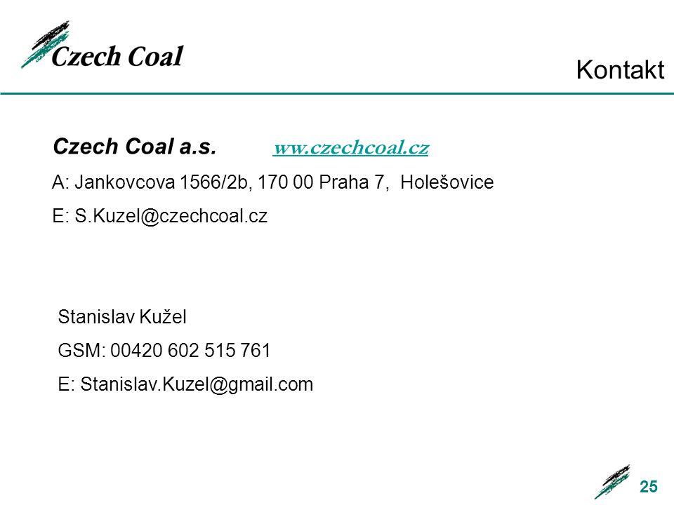 Kontakt 25 Czech Coal a.s. ww.czechcoal.cz ww.czechcoal.cz A: Jankovcova 1566/2b, 170 00 Praha 7, Holešovice E: S.Kuzel@czechcoal.cz Stanislav Kužel G