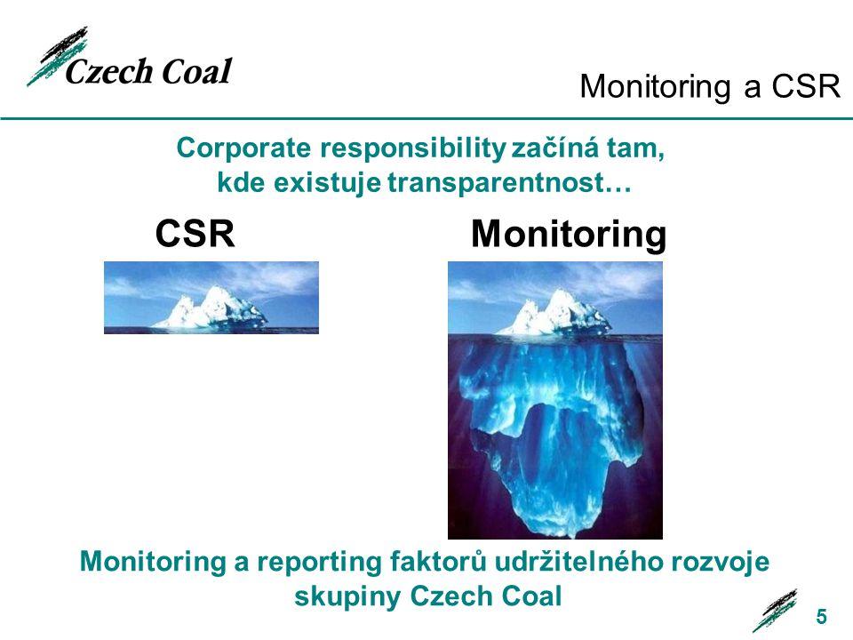Monitoring a CSR 5 CSR Monitoring Corporate responsibility začíná tam, kde existuje transparentnost… Monitoring a reporting faktorů udržitelného rozvo