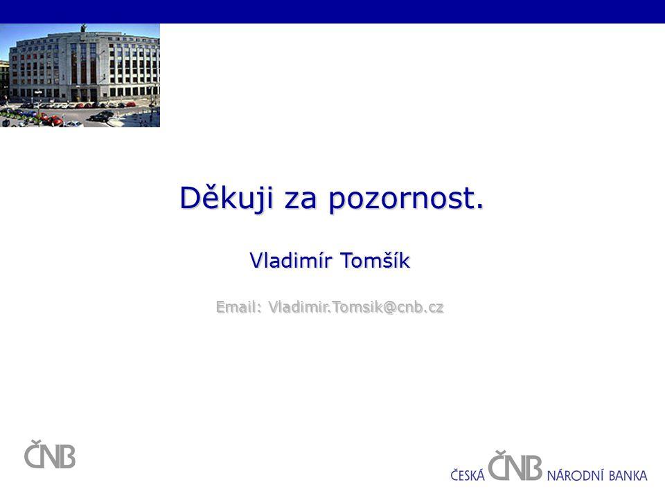 Děkuji za pozornost. Vladimír Tomšík Email: Vladimir.Tomsik@cnb.cz