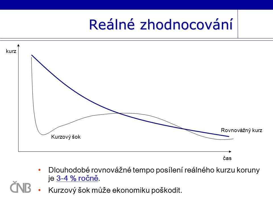 Dlouhodobé rovnovážné tempo posílení reálného kurzu koruny je 3-4 % ročně.