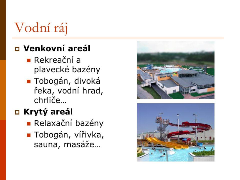 Vodní ráj  Venkovní areál Rekreační a plavecké bazény Tobogán, divoká řeka, vodní hrad, chrliče…  Krytý areál Relaxační bazény Tobogán, vířivka, sau