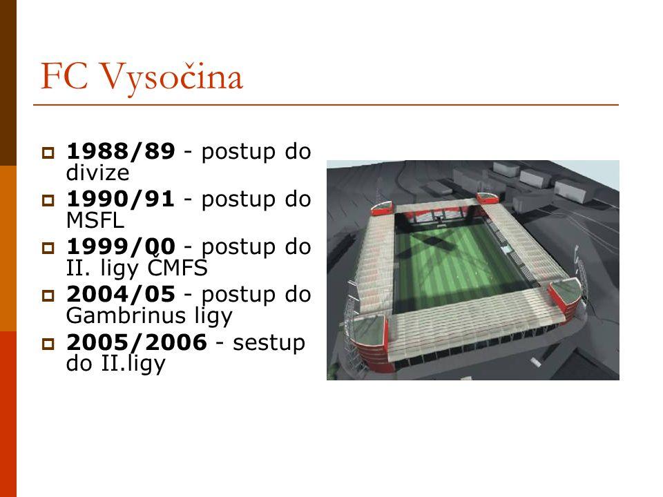 FC Vysočina  1988/89 - postup do divize  1990/91 - postup do MSFL  1999/00 - postup do II. ligy ČMFS  2004/05 - postup do Gambrinus ligy  2005/20