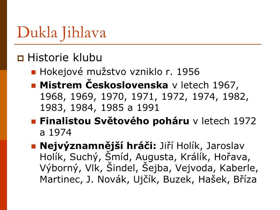 Dukla Jihlava  Historie klubu Hokejové mužstvo vzniklo r. 1956 Mistrem Československa v letech 1967, 1968, 1969, 1970, 1971, 1972, 1974, 1982, 1983,