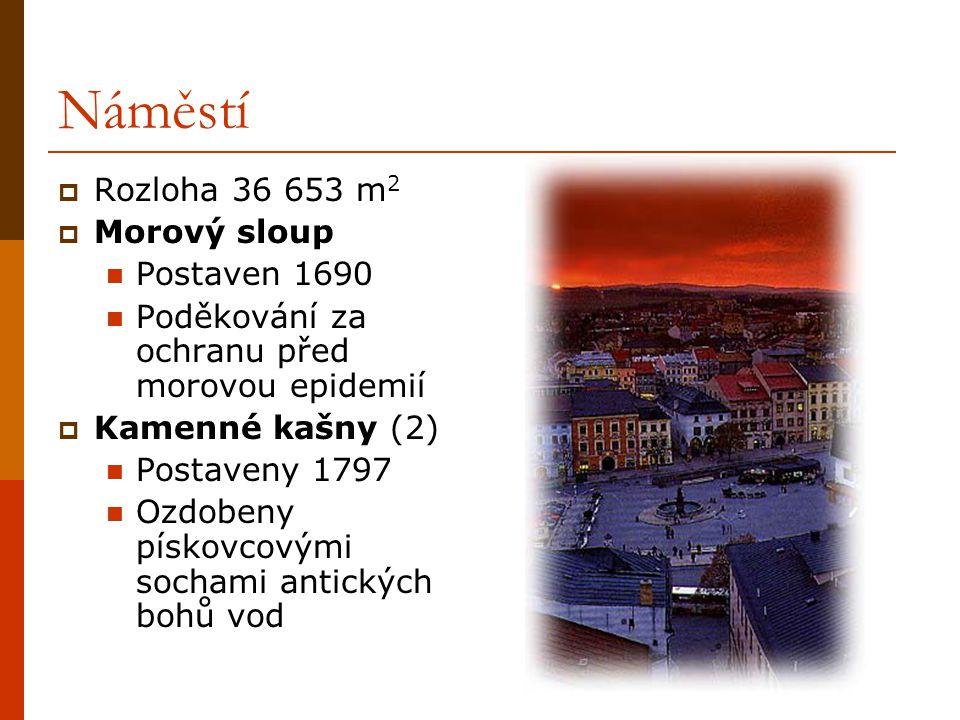 Náměstí  Rozloha 36 653 m 2  Morový sloup Postaven 1690 Poděkování za ochranu před morovou epidemií  Kamenné kašny (2) Postaveny 1797 Ozdobeny pískovcovými sochami antických bohů vod