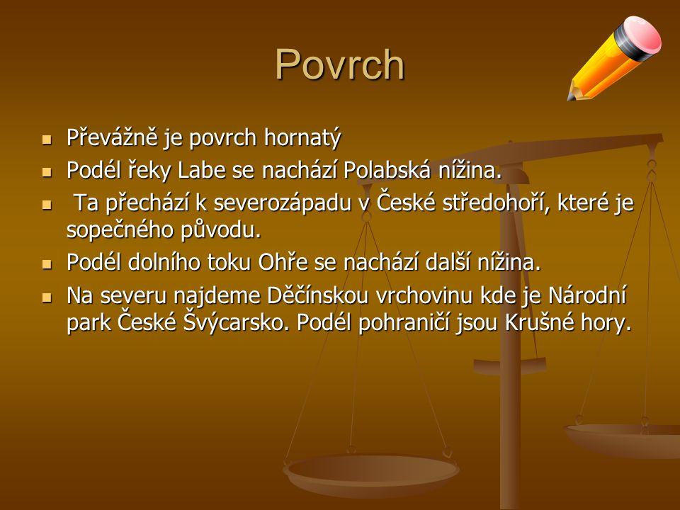 Povrch Převážně je povrch hornatý Převážně je povrch hornatý Podél řeky Labe se nachází Polabská nížina.