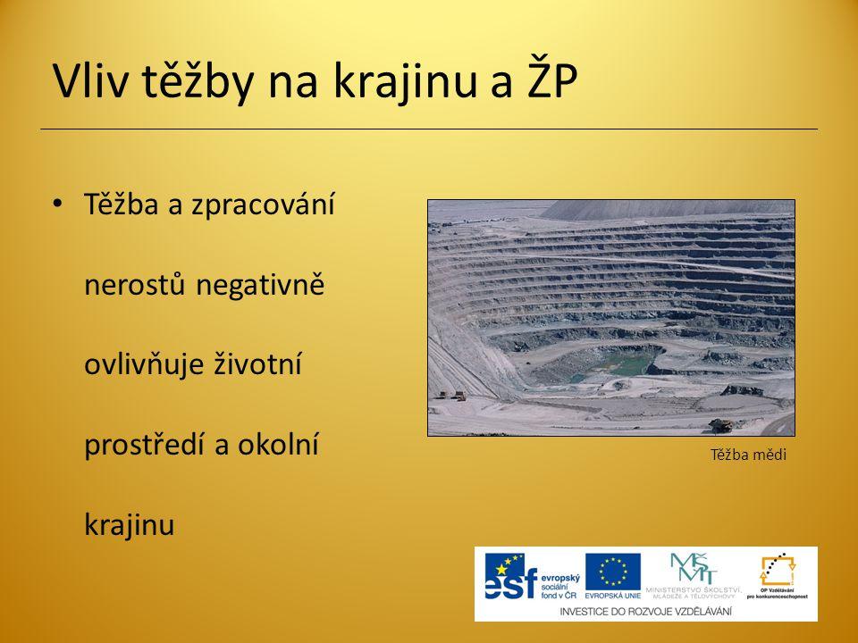 Vliv těžby na krajinu a ŽP Těžba a zpracování nerostů negativně ovlivňuje životní prostředí a okolní krajinu Těžba mědi