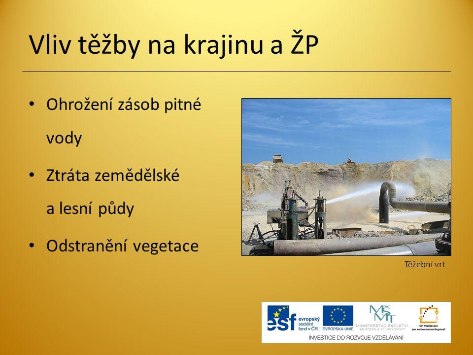 Vliv těžby na krajinu a ŽP Nadměrná hlučnost a prašnost Ovlivnění kvality života lidí – vystěhování obyvatel Solný důl