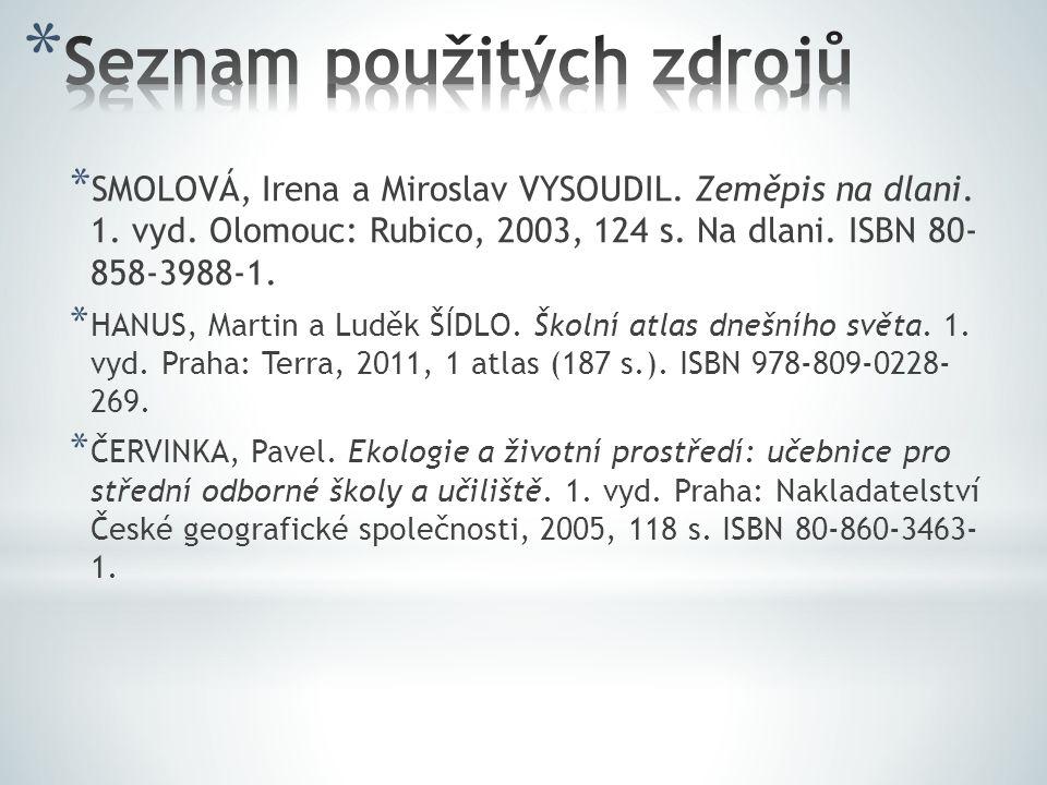 * SMOLOVÁ, Irena a Miroslav VYSOUDIL. Zeměpis na dlani. 1. vyd. Olomouc: Rubico, 2003, 124 s. Na dlani. ISBN 80- 858-3988-1. * HANUS, Martin a Luděk Š