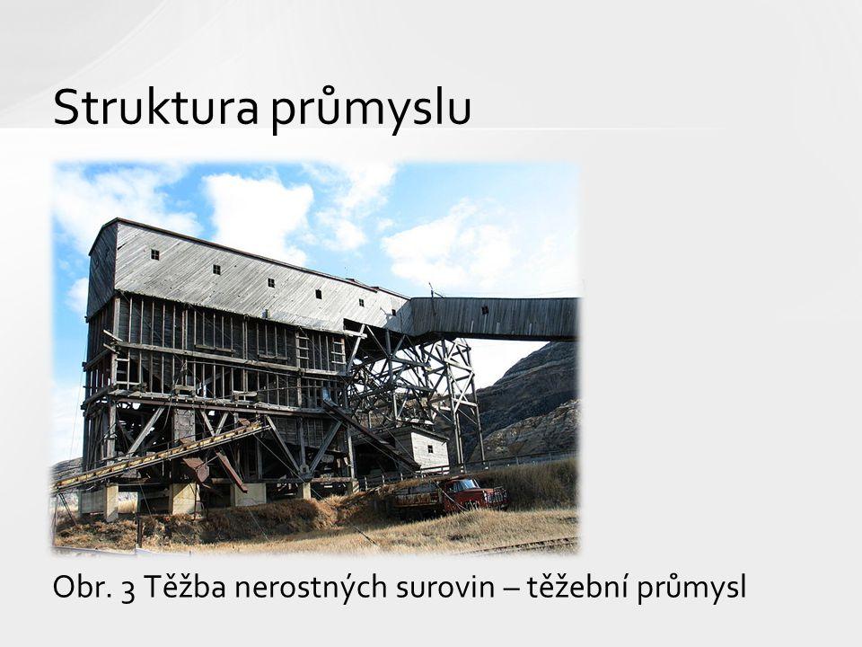 Obr. 3 Těžba nerostných surovin – těžební průmysl Struktura průmyslu